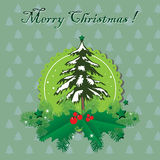 Merry Christmas. Abstract colorful background with snowy fir tree, fir branches, mistletoe and green stars. Christmas greeting Stock Photography