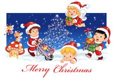 Merry Christmas. Colored illustration of elves that wishes Merry Christmas Royalty Free Stock Photography