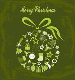 Merry Christmas. Illustration of christmas ball composed of christmas elements with old look background Royalty Free Stock Images