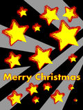 Merry Christmas. Shiny stars on black and gray background with yellow Merry Christmas inscription Royalty Free Stock Images