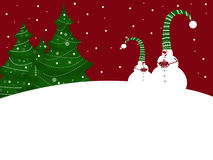 Merry Christmas. Christmas illustration with two snow-men Stock Images