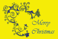 Merry christmas. Illustration of merry christmas, with floral background in yellow Royalty Free Stock Photo