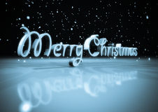 Merry christmas. 3d rendering of a monochromatic merry Christmas text with snow flakes Stock Image