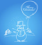 Merry Christmas. From smiling snowman with thу balloon royalty free illustration