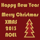 Merry Christmas. Happy New Year, Noel, 2013 Vector Lettering stock illustration
