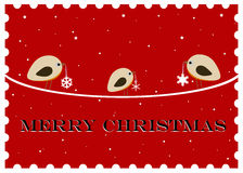 Merry Christmas. Christmas postcard in a stamp shape Royalty Free Stock Image
