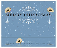Merry Christmas. Christmas greeting card with birds which sitting on the letters Stock Image