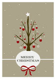 Merry Christmas. Christmas greeting card with tree and baubles Royalty Free Stock Photo