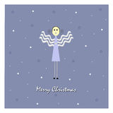 Merry Christmas. Christmas card with angel shape and stars Stock Photo