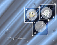 Merry Christmas. Christmas greeting card with heartwarming picture of fragile baubles and winter stars Royalty Free Stock Image