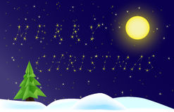 Merry christmas. Night whit moon, stars and christmas tree Royalty Free Stock Photography