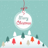 Merry Christmas. Colorful trees greeting card stock illustration