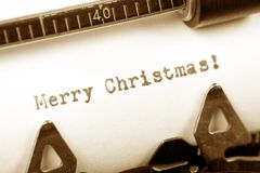 Merry Christmas. Typewriter close up shot, concept of Merry Christmas Stock Images