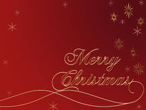 Merry Christmas. 3d golden text with words Merry Christmas and golden snowflakes over red background Royalty Free Stock Images