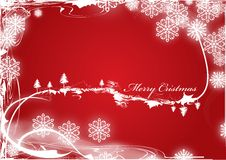 Merry Christmas. Christmas background or postcard with snoflakes and trees Royalty Free Stock Image