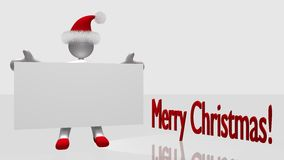 Merry Christmas 3D figure. Christmas 3D figure with white sign and Merry Christmas plain background Royalty Free Stock Photos