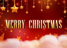 Merry Christmas and 3d golden stars over clouds Royalty Free Stock Photo