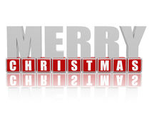 Merry Christmas in 3d letters and cubes Royalty Free Stock Image