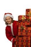 Merry Christmas. Christmas presents and christmas hat Stock Photo