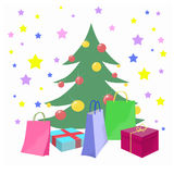 Merry Christmas. Christmas tree, gifts, toys, packs Royalty Free Stock Photo