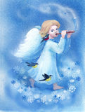 Merry Christmas. Angel is playing on a reed pipe bringing people good news: it is Chrismas time. Snowflakes and titmouse birds flying around him Royalty Free Stock Photos