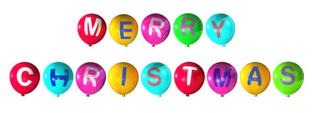 Merry christmas. In abstract colorful balloons Stock Image