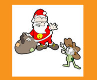 Merry christmas. Funny Christmas card about Santa Claus and a bad boy Royalty Free Stock Photo