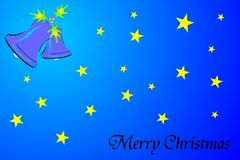 Merry christmas. Illustration of merry christmas background with stars and ring bell Royalty Free Stock Photography