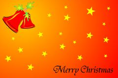 Merry christmas. Illustration of merry christmas background with stars and ring bell Stock Photo