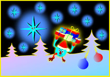 Merry Christmas. Delivery gifts. Christmas gift service. Picture, drawing Royalty Free Stock Images