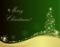 Merry Christmas. Happy New Year gold and green background Stock Image