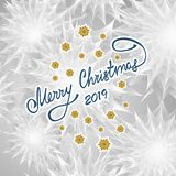 Merry Christmas Abstract background with floral texture inscription snowflakes. In silver colors for congratulation or invitation of holiday or for package vector illustration