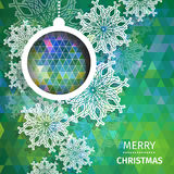 Merry Christmas Abstract background. With snowflakes, paper round ball,garland - tree decorations. Xmas ornaments. Vector illustration - eps10 Vector Illustration