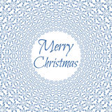 Merry Christmas. Abstract floral round pattern on white background with text. Vector illustration Vector Illustration