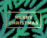 Merry Christmas Abstract Vector Classy Card. Modern Golden Typography on Dark Background with Branches Silhouettes Stock Images