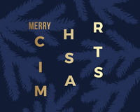 Merry Christmas Abstract Vector Classy Card. Modern Golden Typography on Dark Background. Royalty Free Stock Image