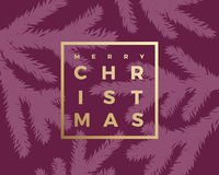 Merry Christmas Abstract Vector Classy Card. Modern Golden Typography in a Minimalism Frame. Purple Background Royalty Free Stock Images