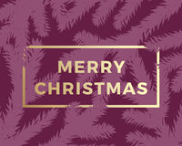 Merry Christmas Abstract Vector Greeting Card. Modern Golden Typography in a Frame. Purple Background.  vector illustration