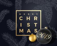 Merry Christmas Abstract Vector Greeting Card, Poster or Holiday Background. Black and Gold Colors, Glitter and Modern. Typography. Xmas Balls with Soft Shadows vector illustration