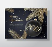 Merry Christmas Abstract Vector Greeting Card, Poster or Holiday Background. Classy Black and Gold Colors, Glitter. Tinsel and Typography. Xmas Ball with Soft royalty free illustration