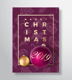 Merry Christmas Abstract Vector Greeting Card, Poster or Holiday Background. Classy Purple and Gold Colors, Glitter and. Modern Typography. Xmas Balls with Soft royalty free illustration