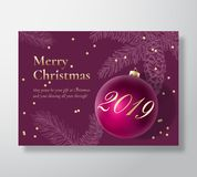 Merry Christmas Abstract Vector Greeting Card, Poster or Holiday Background. Classy Purple and Gold Colors, Glitter. Tinsel and Typography. Ball with Soft vector illustration
