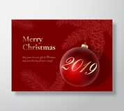 Merry Christmas Abstract Vector Greeting Card, Poster or Holiday Background. Classy Red and Gold Colors, Glitter and. Typography. Xmas Ball with Soft Shadows royalty free illustration