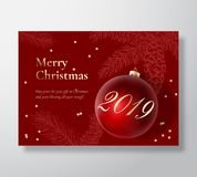 Merry Christmas Abstract Vector Greeting Card, Poster or Holiday Background. Classy Red and Gold Colors, Glitter Tinsel. And Typography. Xmas Ball with Soft stock illustration