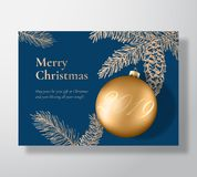Merry Christmas Abstract Vector Greeting Card, Poster or Holiday Background. Xmas Ball with Soft Shadows and Sketch Fir. Needles with Strobile. Classy Blue and vector illustration