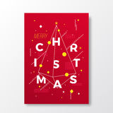 Merry Christmas Abstract Vector Swiss Style Minimalistic Poster, Card or Background. Modern Typography and Soft Royalty Free Stock Photography