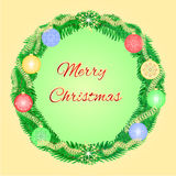 Merry Christmas advent wreath with garnishes vector Royalty Free Stock Image