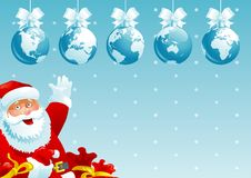 Merry Christmas, all world!. Vector illustration of  baubles with globes and Santa Claus with gift bags Royalty Free Stock Images