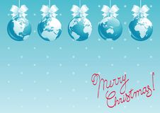 Merry Christmas, all world!. Vector illustration of  baubles with globes and text Merry Christmas Stock Photos