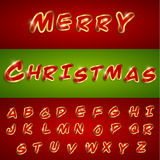 Merry christmas alphabetic font with sticker style Stock Photography